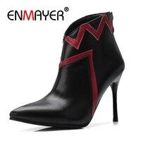 Enmayer/женские ботильоны; большие размеры 32-43; повседневные модные ботинки на высоком тонком каблуке; обувь из коровьей кожи с острым носком на...
