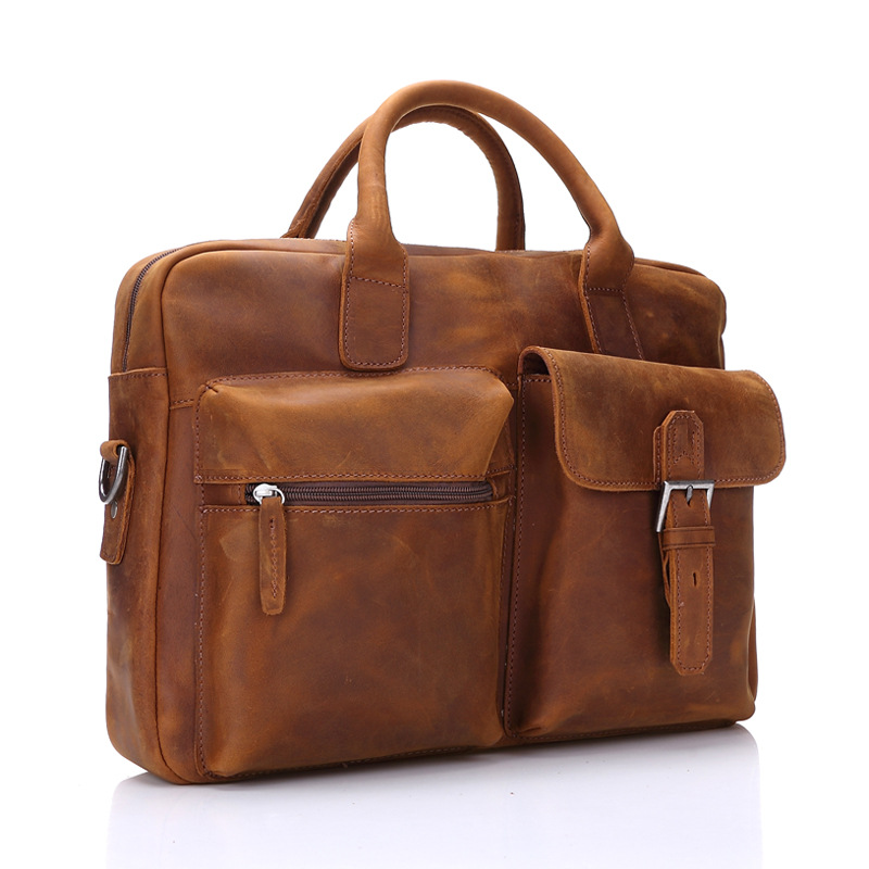 Briefcase Cow Leather Tote Men's Briefcase Business Retro Crazy Horse Leather Business Computer Bag Casual Messenger Bag cow leather men s briefcase retro genuine leather business office computer bag handmade briefcase