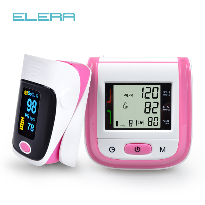 Health Care Digital Wrist Blood Pressure Monitor Tonometer +CE Fingertip Pulse Oximeter Oximetro Alarm Setting