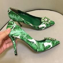 2019 Latest Design Green Leaf Printing High Heel Pumps Rhinestone Embellished Beading Dress Shoes Women