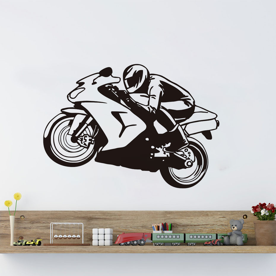 Motorcycle Wall Stickers Part - 15: Cool Rider Racing Motorcycle Wall Stickers Sports Home Decoration Mural  Vinyl Personality Adhesive Decals For Living