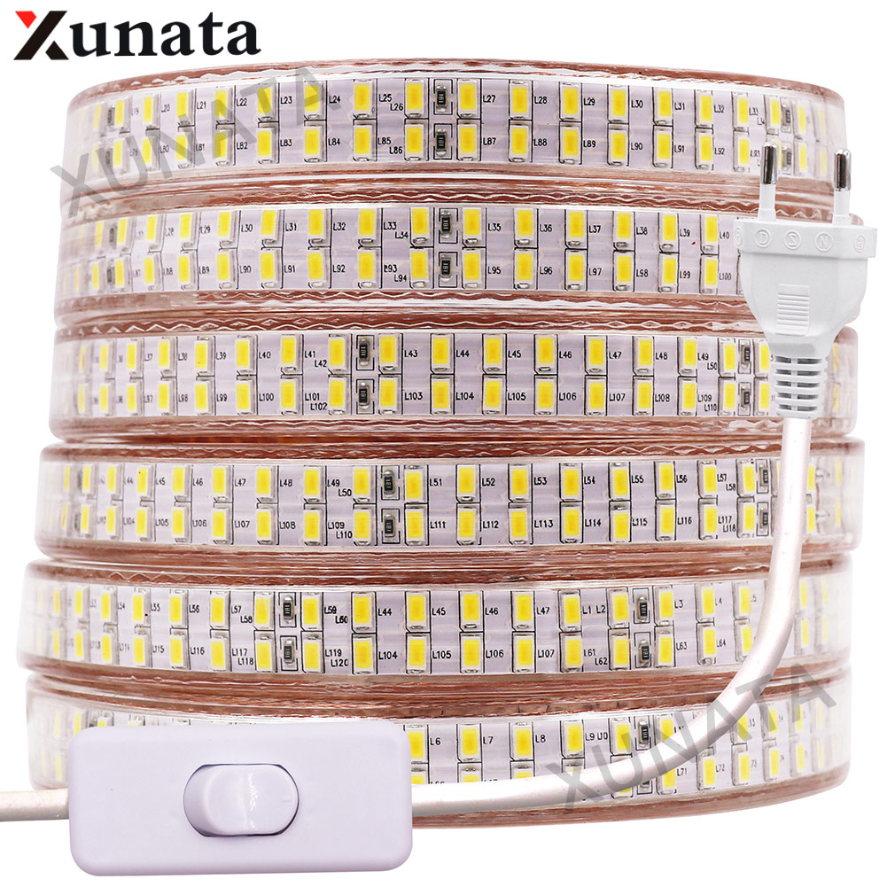 5730 Bouble Rij Led Light Strip 110V 220V 240 Leds/M Led Strip Waterdicht Lint Tape Wit /Warm Wit Met Eu/Uk/Us Schakelaar Plug