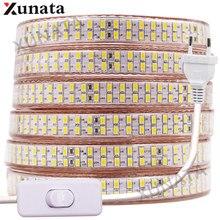 5730 Bouble Row LED listwa oświetleniowa 110V 220V 240 leds/m taśma LED wodoodporna taśma wstążkowa biały/ciepły biały z wtyczką EU/UK/US