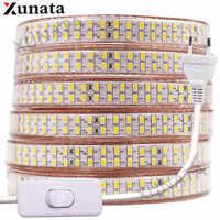 5730 Bouble Row LED Light Strip 110V 220V 240Leds/m LED Strip Waterproof Ribbon Tape White/Warm White With EU/UK/US Switch Plug