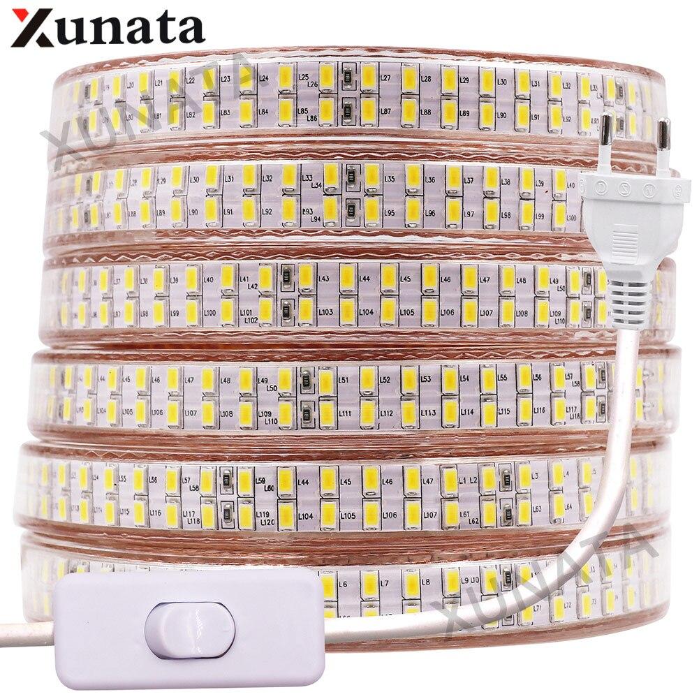5730 bande de ligne de lampes LED 110V 220V 240 LED s/m bande de LED bande de ruban étanche blanc/blanc chaud avec prise de commutation ue/royaume-uni/états-unis
