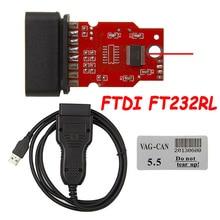 คุณภาพสูง FTDI FT232RL VAG CAN Commander 5.5 + Reader 3.9Beta USB OBD2 16pin วัดระยะทาง Diagnostic สาย