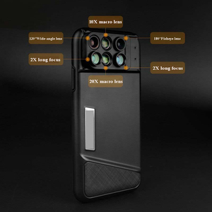 Image 3 - New For iPhone XS Max Dual Camera Lens 6 in 1 Fisheye Wide Angle Macro Lens For iPhone XS XR Xs Max Telescope Zoom Lenses + Case