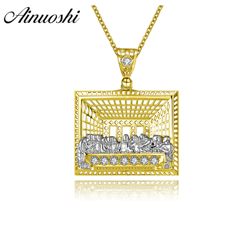 AINUOSHI 10K Solid Yellow Gold Pendant Last Supper Christ Disciples Priests Christian Gold Jewelry 3.7g Separate Jesus Pendant