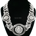 New Celebrity Style Vintage 3 Lion Head Statement Necklace with Twisted Link chain Necklace