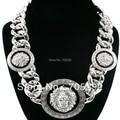 Nuevo Estilo de La Celebridad de La Vendimia 3 Declaración Lion Head Collar con la cadena Twisted Enlace Collar