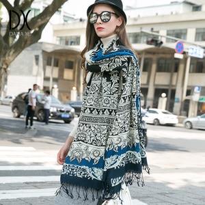 Image 1 - 2019 Fashion Scarves and Shawls Women Brand Scarf Wool Pashmina Wrap Winter Warm Cape Poncho Face Shield Bandana Muslim Hijab