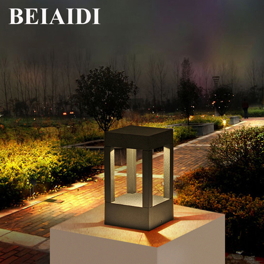BEIAIDI Modern LED Outdoor Park Patio Garden Light 4 Column Aluminum Community Post Lamp Waterproof Walkway Fence Gate Lawn Lamp 4 4 meter aluminum deluxe outdoor gazebo patio tent pavilion with sidewalls and gauze for garden decor