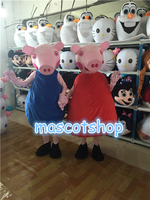 Red & Blue Cartoon pig Mascot Costumes Adult size Cartoon Halloween Carnival Costume cartoon airplane style red