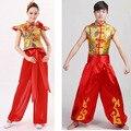2016 La Venta de Disfraces Trajes de Baile Chino Tambores Ropa Ropa Yangko Danza Moderna Trajes de Estilo Popular de Los Hombres De 150 cm-190 cm