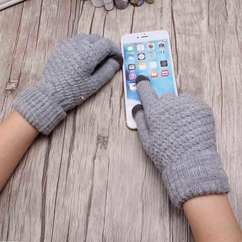 Hot Sale Rajutan Sarung Tangan Wanita Pria Anak Tebal Hangat Musim Dingin Penuh Jari Sarung Tangan Perempuan Stretch Crochet Padat Wol Layar Guantes