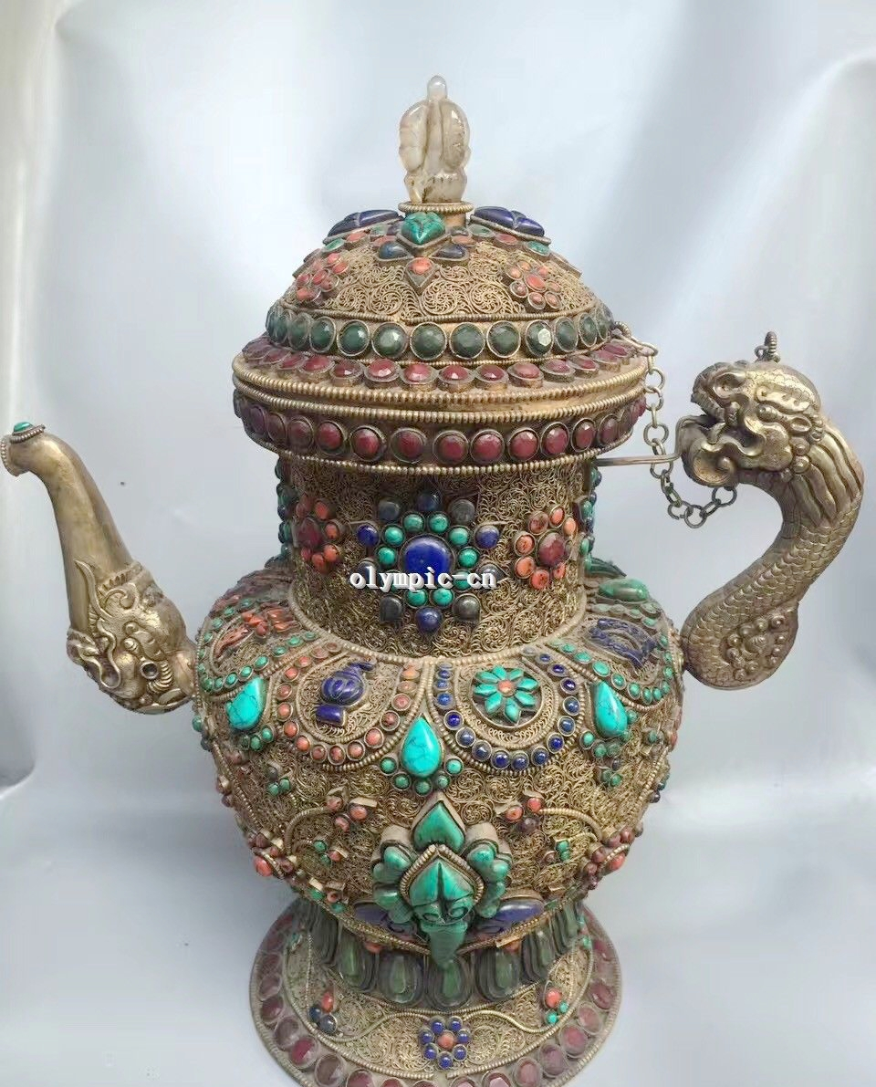 Tibet Nepal Handicraft Silver Filigree Inlay Red Gem Turquoise Coral Pot Teapot