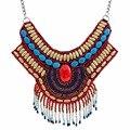 2016 jóias Na Moda Bordados Feitos À Mão Talão multicolor collares mujer Étnicos Do Vintage Colar de Pérolas Colar de Declaração