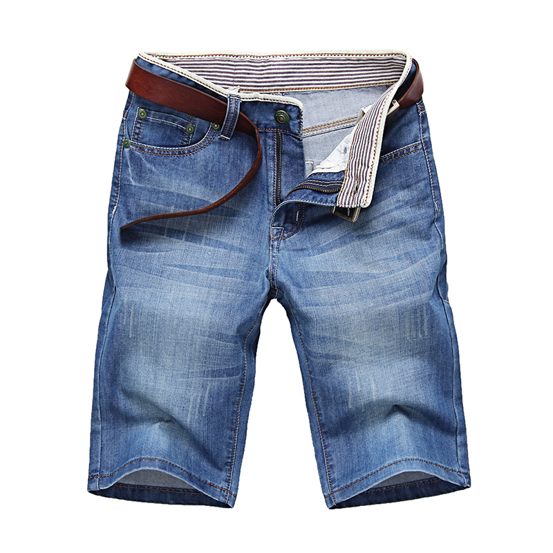 Classdim Jeans Men Short Straight Men's Cotton Blue Male Solid Casual Good-Quality