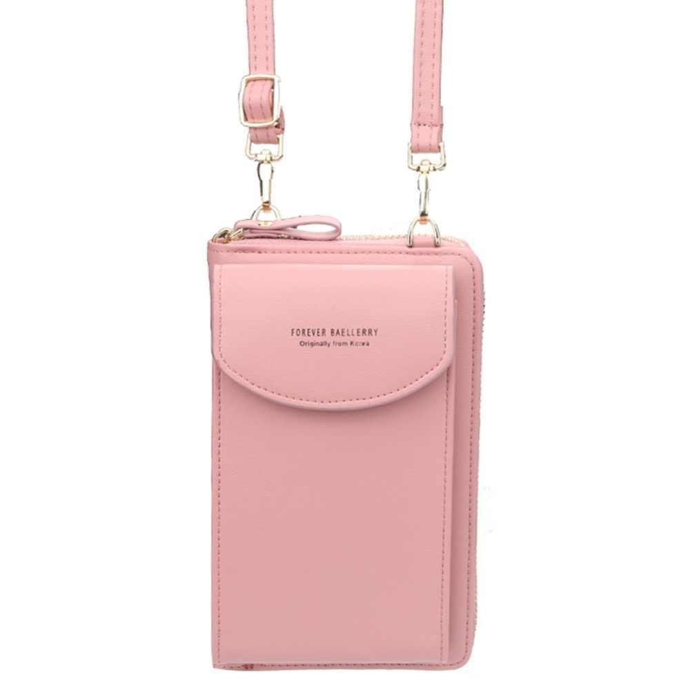 Meninas cor sólida couro do plutônio embreagem moda feminina marca designer de luxo longo wristlet carteira moeda bolsa titular do cartão bolsas mujer