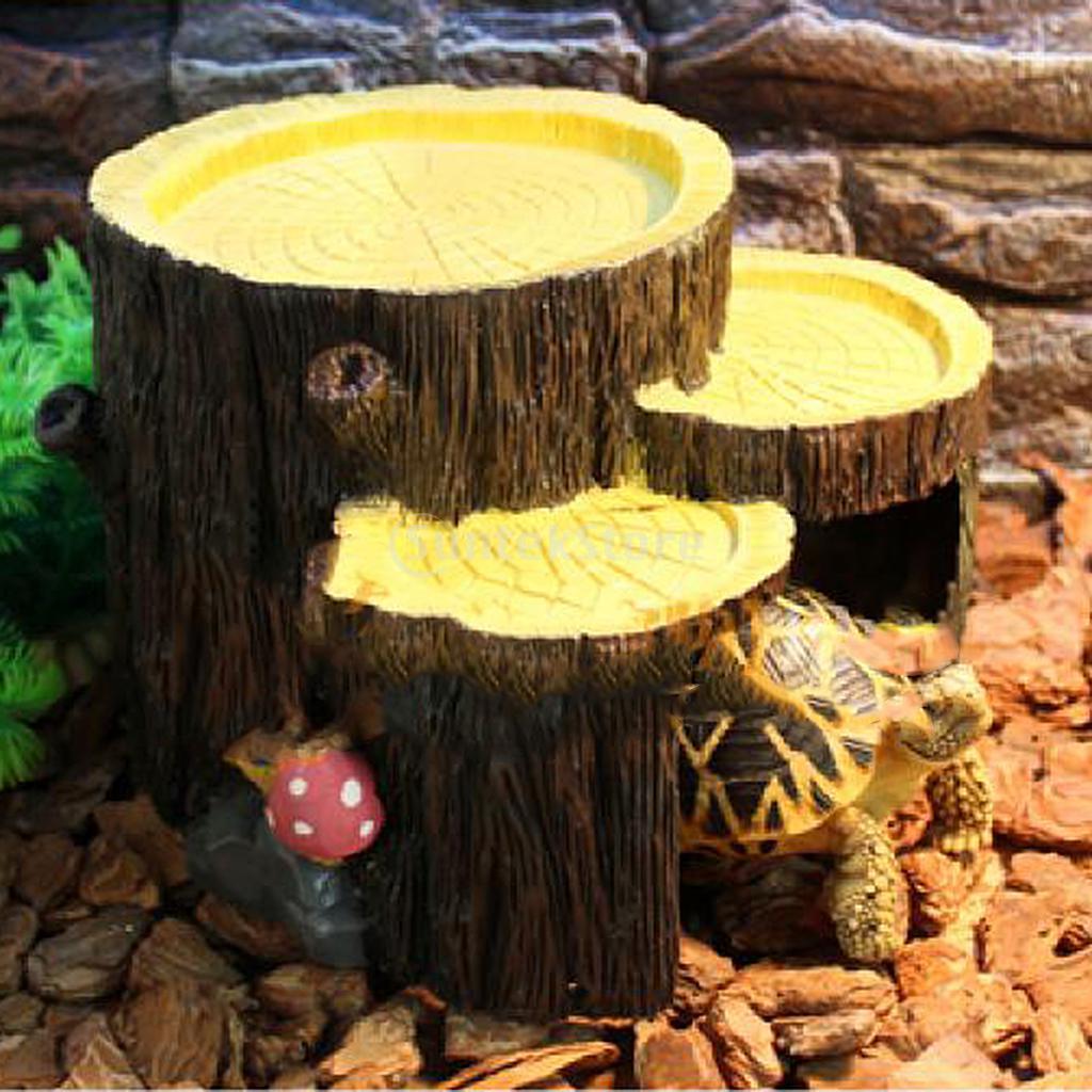 Reptile Vivarium Terrarium Decoration Hide Cave Feeding Bowl lizard ...
