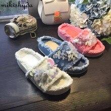 Hot Sell Designer Denim Canvas Slippers Women Summer Shoes Women Slippers Denim Sandals Shinny Flower Women Slides Flip Flops