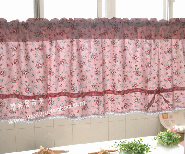 US Free Shipping Red Floral Lace Bow Beautiful Coffee Short Curtain Kitchen Curtains For Living Room Bedroom Drapes 50 135CM In Curtains From