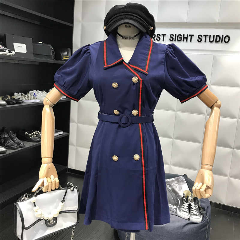 Новинка 2019 года; сезон лето; платье в стиле ретро с отложным воротником; приталенное двубортное платье с высокой талией + пояс; A322