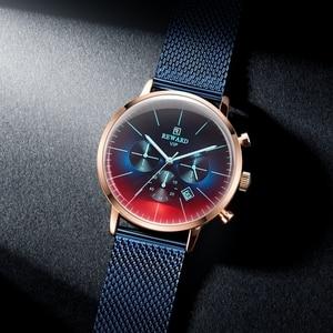 Image 2 - Nagroda nowa moda chronograf mężczyźni Top marka luksusowe kolorowe zegarek wodoodporny zegarek sportowy mężczyzn zegar ze stali nierdzewnej