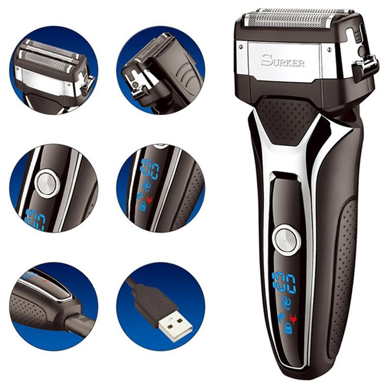 Surker Rscx 9008 Men 39 S Professional With Lcd Digital Display 3D Floating Blade Electric Shaver Turbocharged Rechargeable Razor in Electric Shavers from Home Appliances