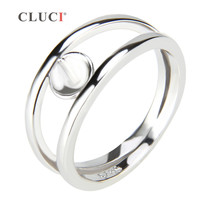 CLUCI Two Loops Sterling Silver Ring Size 6 7 8 Vintage Ring Christmas Charms For Lover