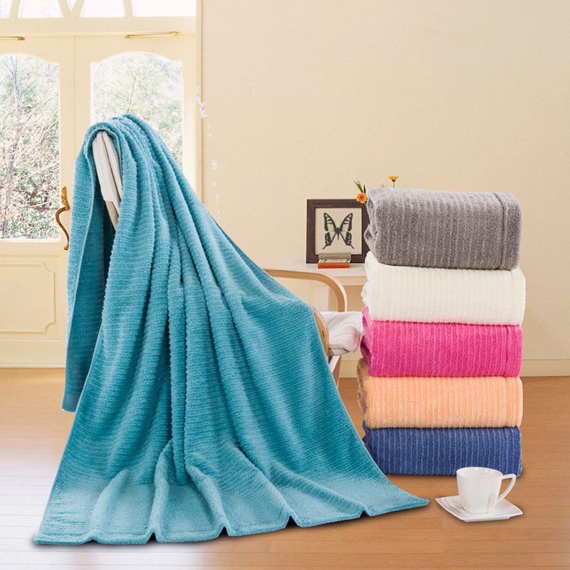 SunnyRain 1 Piece Solid Color Jacquard Cotton Bath Towel