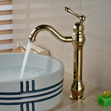 Brand New Golden Brass Bathroom Basin Faucet Countertop Sink Mixer Tap Single Lever