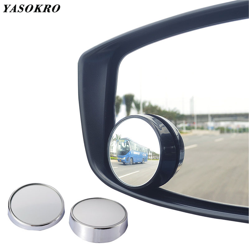 YASOKRO 1 Pair Ultrathin Blind Spot Mirrors Vehicle Rear View Wide Angle Round Convex Mirror For Small Car SUV