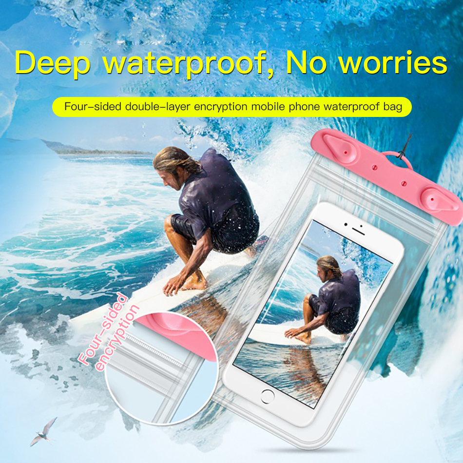!ACCEZZ PVC Waterproof Bag 6 inches Pouch Phone Case For iPhone XS XR Xiaomi Huawei Samsung HTC Mobile Phone Swimming Cover Case (1)