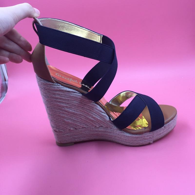 Navy Blue Cross Tie Wedge Sandal High Heels Cross tie Platform Real Photo Women Shoes Sandal Wedge Heels Plus Size 15