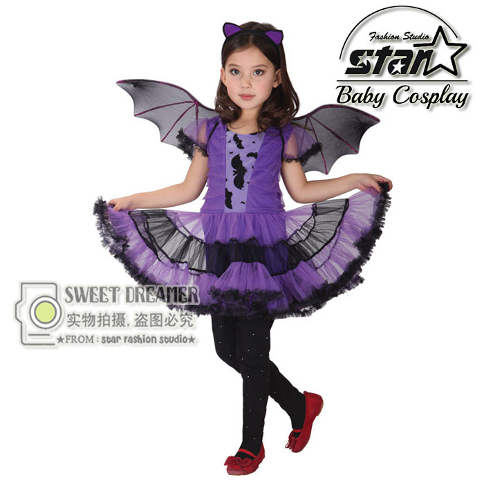 Halloween Cosplay Costumes Children's Clothing Stage Performances Girls Purple Dress Carnival Bat Girls With Evil Wings Suit children egyptian pharaoh costumes 2016 new cosplay masquerade halloween childen kid suit cleopatra royal fantasia disfraces