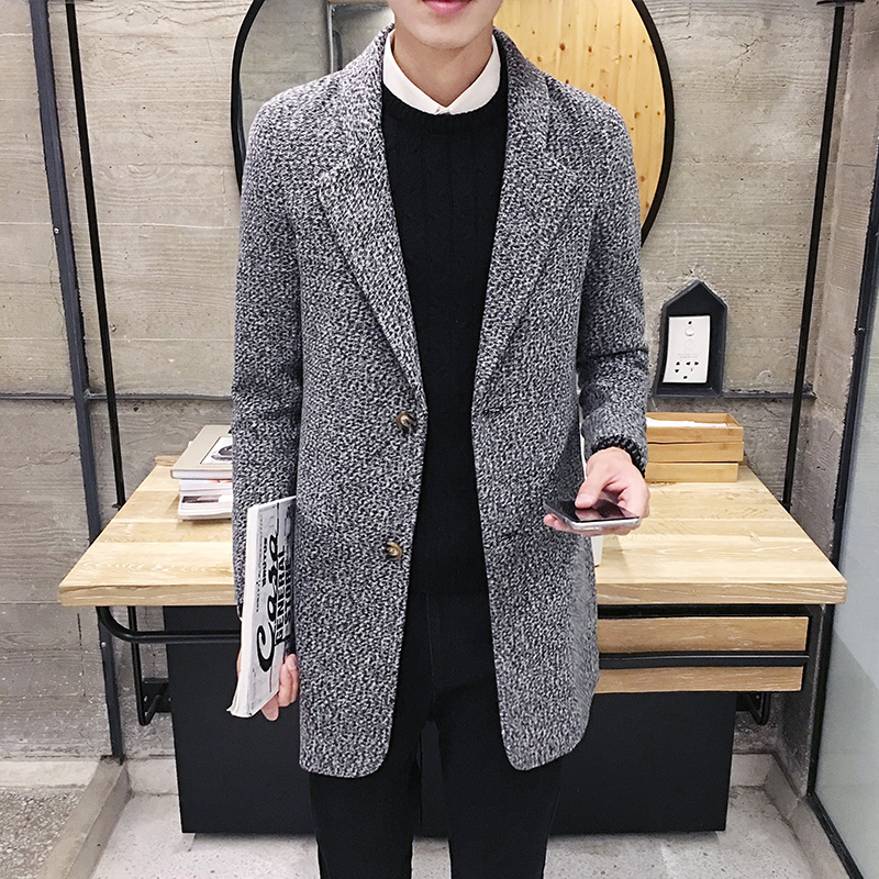 2017 Spring and Autumn New Men s Fashion Casual Long Windbreaker Trench Coat Man s Solid