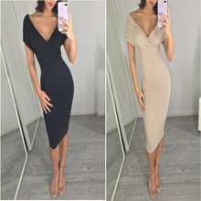 2018 European and American explosion models Slim simple solid color dress Deep V-neck