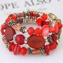 2017 Bohemian Multilayer Shell Beads Bracelets Gold Chain Circle Party Bangle For Women Beach Jewelry pulseira feminina