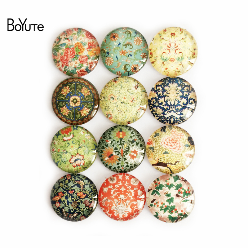 BoYuTe Round 8 10 12 14 15 16 18 20 25 30MM Flower Cabochon Vintage Handmade Image Glass Cabochon Diy Jewerly Findings