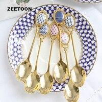 British Style Noble Gold Spoon 304 Stainless Steel Bone China Cute Small Teaspoon Coffee Milk Spoons Scoop Tableware Accessories