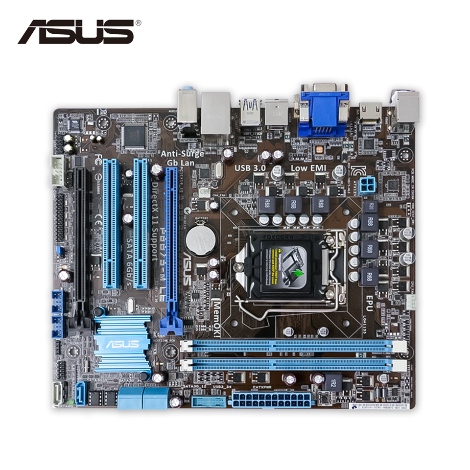 Asus P8B75-M LE Desktop Motherboard B75 Socket LGA 1155 i3 i5 i7 DDR3 uATX On Sale asus p8h67 m lx desktop motherboard h67 socket lga 1155 i3 i5 i7 ddr3 16g uatx on sale