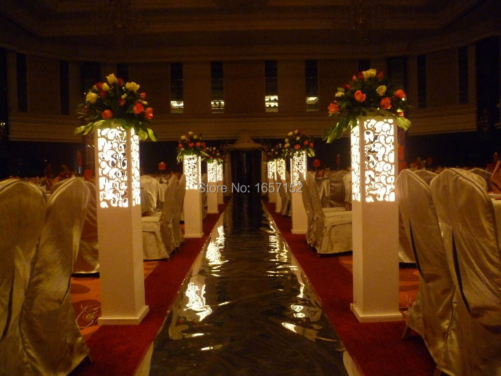 70cm tall white flower stand wedding flower vase table centerpiece wedding carved pillar wedding stand with led light wedding decoration road lead carved hollow out wedding junglespirit Choice Image