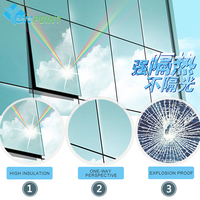 50cmX3m Silver One Way UV-proof Reflective Mirror Window Film DIY Insulation Film Self Adhesive Sticky Stickers PET Glass Films