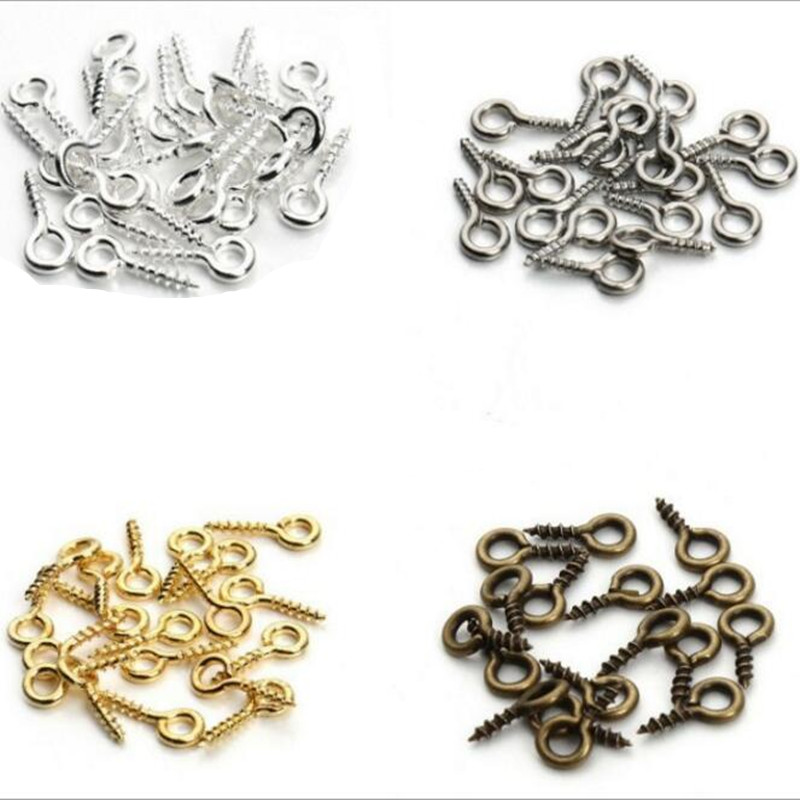 Threaded Drilled Charms Metal 100Pcs Eyelets Bails Screw Jewelry Making
