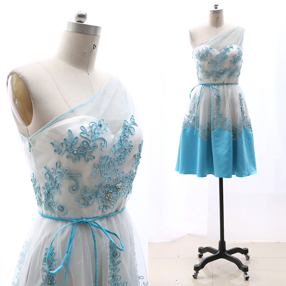 MACloth Sky Blue A-Line One Shoulder Knee-Length Short Tulle   Prom     Dresses     Dress   M 264957 Clearance