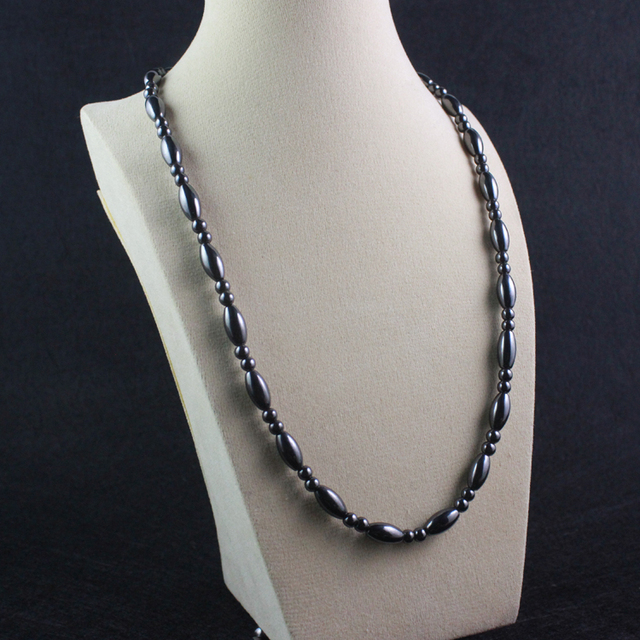 Magnetic Hematite oval beads Necklace Beaded Health Necklace Gift for Men and Women 6x12mm