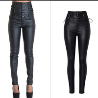 Women Black Coated Jeans High Waist Skinny PU Leather Female Biker Motorcycle Hip Hop Cool Trousers Elastic Button Pencil Pants