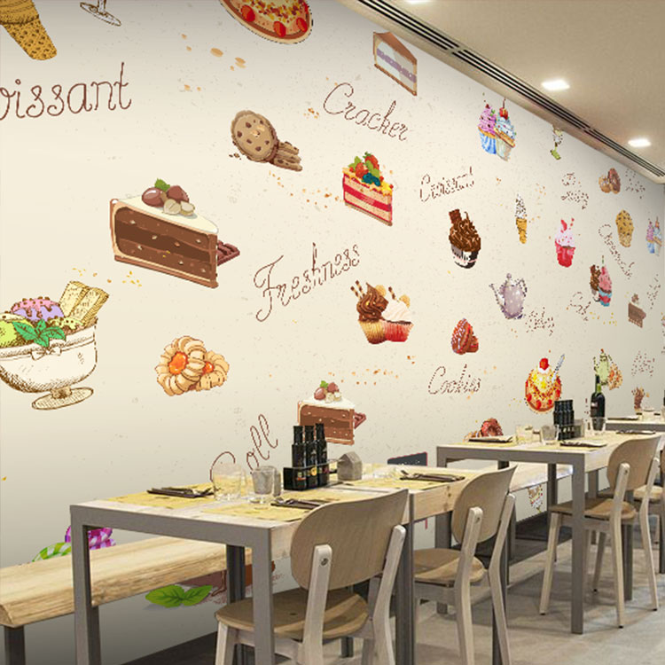 Free Shipping 3D European wallpaper hand-painted cake dessert delicacy Cafe tea ice cream shop restaurant wallpaper mural  free shipping 3d dessert cake gourmet theme restaurant wallpaper cake shop dessert coffee dessert snack bar mural