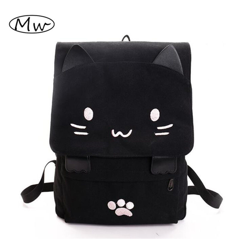 Harajuku Style Cartoon Cat Printing Backpack High School Students Shoulder Bag Women Canvas Backpack Girls Bag Mochila Rucksack 2017 printing owl backpack good quality canvas backpack college school backpack flowers women rucksack backpack mochila t20